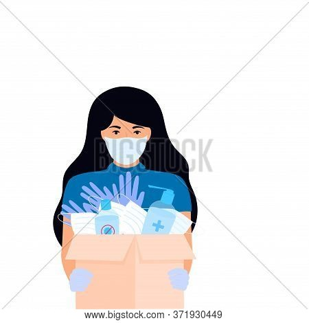 Covid-19. Humanitarian Aid. Supply Of Medical Protective Masks And Disinfectants. Coronavirus Epidem