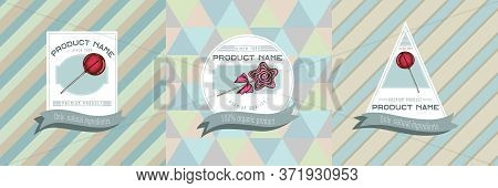 Three Colored Labels With Illustration Of Lollipop, Lollipop Stock Illustration