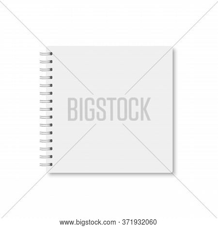White Realistic A5 Notebook Closed With Soft Shadow. Vector Square Blank Copybook With Metallic Whit
