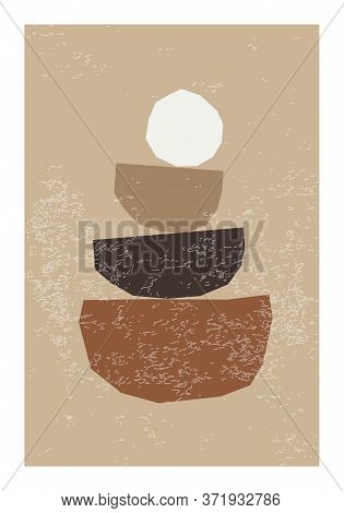 Minimal Wall Art Poster With Abstract Organic Shapes Composition In Trendy Contemporary Collage Styl