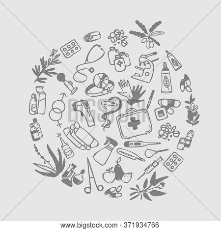 Set Of Icons On The Medical And Pharmacy Theme. Assortment Of Goods From The Pharmacy. Vector Templa