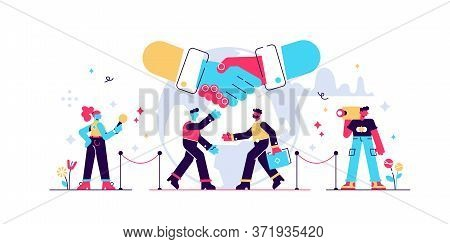 Diplomacy Vector Illustration. Flat Tiny International Politic Friendship Persons Concept. Global Me