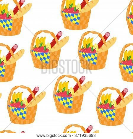 Vector Seamless Pattern With A Picnic Basket With Products: Fruit, Cheese, Sausage, Baguette On A Wh