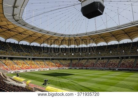 Bucharest, Romania - June 11, 2020: Overview Of The National Arena Stadium In Bucharest On A Sunny D