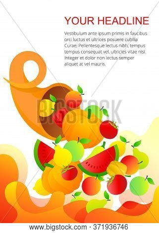 Cornucopia With Fruits And Vegetables - Vector Template With Abstract Elements  For Autumn Harvest F