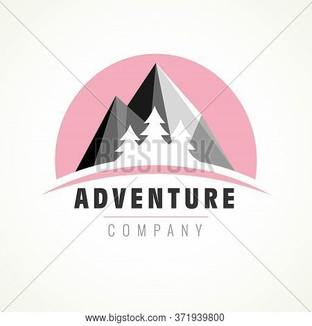 Adventure Logo With Forest Pine Tree On Mountain For Camp Or Travel Design. Vintage Vector Of Wilder