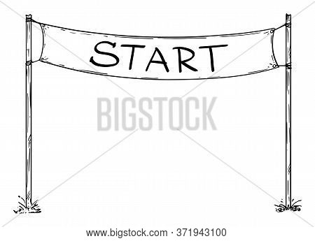 Hand Drawn Vector Of Race Start Line Sign Or Circuit Starting Line Banner. Business Or Career Concep