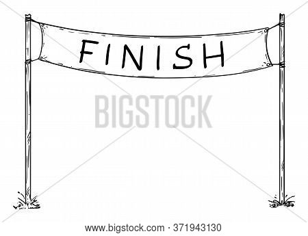 Hand Drawn Vector Of Empty Race Finish Line Sign Or Circuit Finishing Line Banner. Business Or Caree