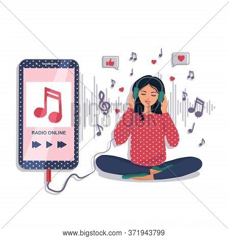 A Beautiful Young Girl With Headphones Listens To Her Favorite Music And Smiles. Music Lover, Music