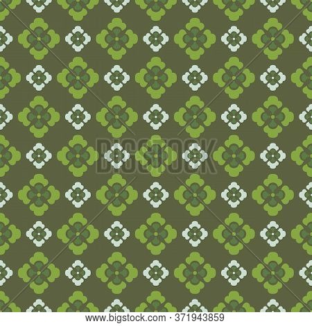 Retro Vintage Chinese Traditional Pattern Seamless Background Curve Cross Green Leaf Flower Kaleidos