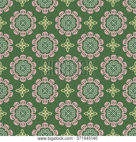 Retro Vintage Chinese Traditional Pattern Seamless Background Round Curve Cross Flower Kaleidoscope