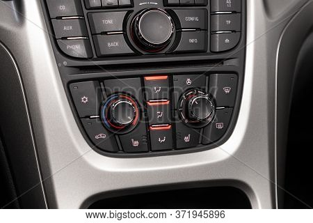 Novosibirsk/ Russia - April  11 2020: Opel Astra, Close Up Instrument Automobile Panel With  Climat
