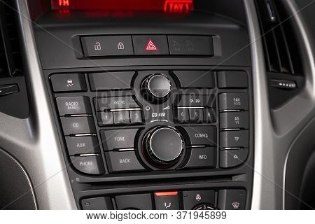 Novosibirsk/ Russia - April  11 2020: Opel Astra, Audio Stereo System, Control Panel And Cd In A Mod