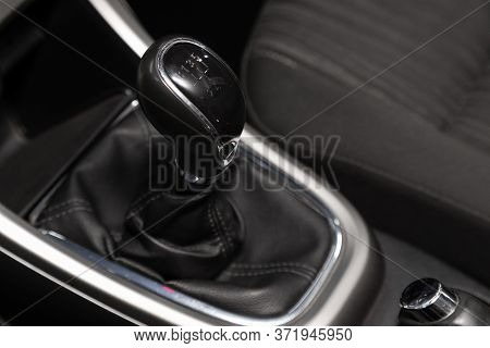 Novosibirsk/ Russia - April  11 2020: Opel Astra, Close Up Of The Manual Gearbox Transmission Handle