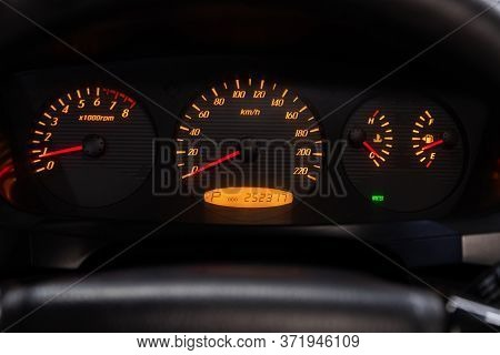 Novosibirsk/ Russia - June 10 2020: Ssangyong Rexton, Round Speedometer, Odometer With A Range Of 25