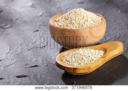 White Quinoa Seeds - Chenopodium Quinoa. Text Space