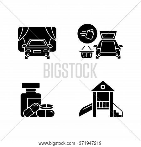 Shopping Mall Products And Services Black Glyph Icons Set On White Space. Curbside Pickup Delivery.