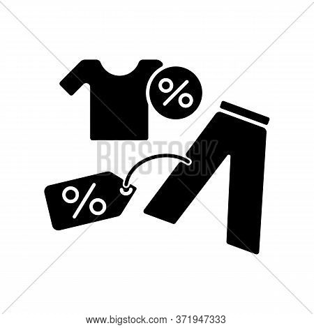 Outlet Black Glyph Icon. Cheap Garment Buying. Trendy Brand Clothes Low Price. Shopping Mall Product