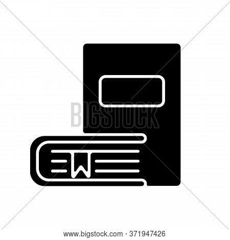 Bookstore Black Glyph Icon. Educational Publication. Bookshop Products. Literature Reading. Books On