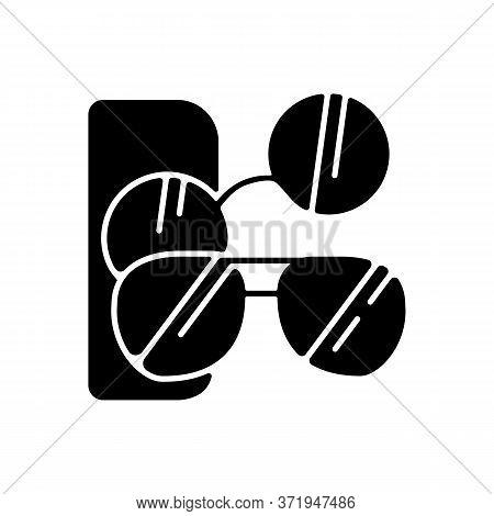 Sunglasses Black Glyph Icon. Male And Female Stylish Eyewear. Men And Women Fashionable Accessories.