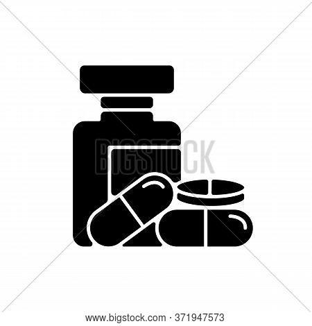 Pharmacy Black Glyph Icon. Pills In Bottles. Medications Prescription. Pharmacology Industry. Shoppi