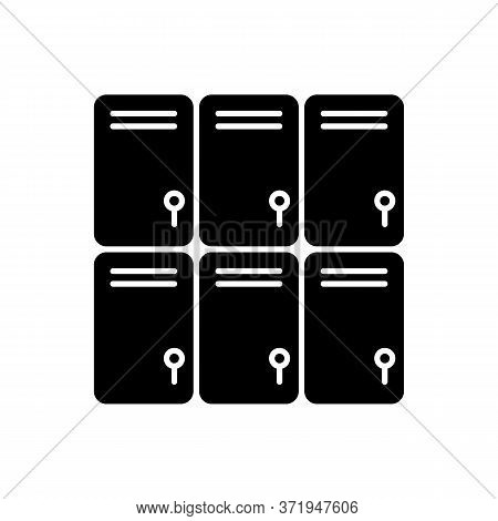 Shopping Mall Lockers Black Glyph Icon. Shop Storage For Personal Belonging. Closed Steel Boxes. Gym