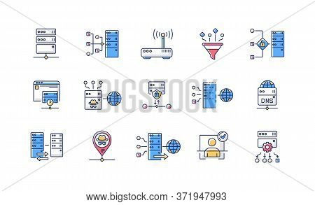 Proxy Server Rgb Color Icons Set. Internet Data Access, Virtual Connection, Cybersecurity. Different