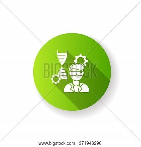 Biomedical Engineer Green Flat Design Long Shadow Glyph Icon. Biotechnology Field Specialist. Profes