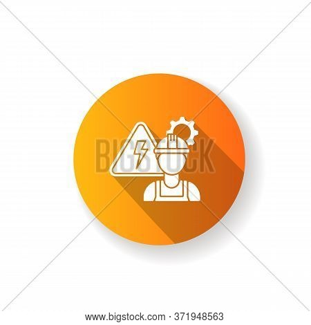 Electrical Engineer Orange Flat Design Long Shadow Glyph Icon. Technical Professional For Machinery