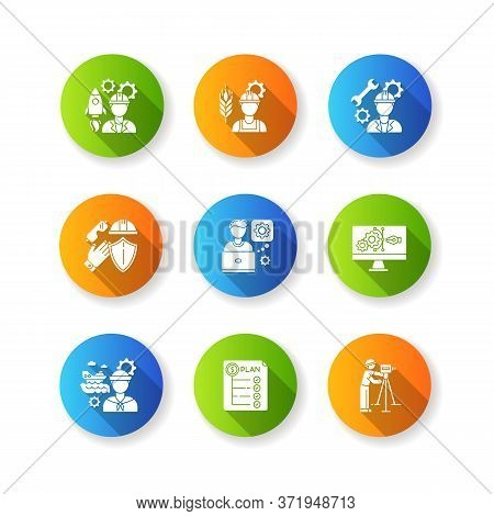 Industrial Production Worker Flat Design Long Shadow Glyph Icons Set. Civil Engineering. Expenditure