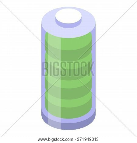 Recycle Full Battery Icon. Isometric Of Recycle Full Battery Vector Icon For Web Design Isolated On