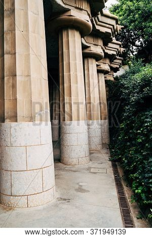 Hall Of A Hundred Columns In The Park Guell In Barcelona, Spain