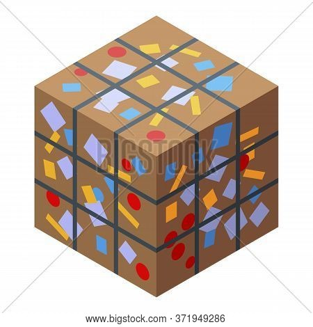 Compressed Garbage Cube Icon. Isometric Of Compressed Garbage Cube Vector Icon For Web Design Isolat