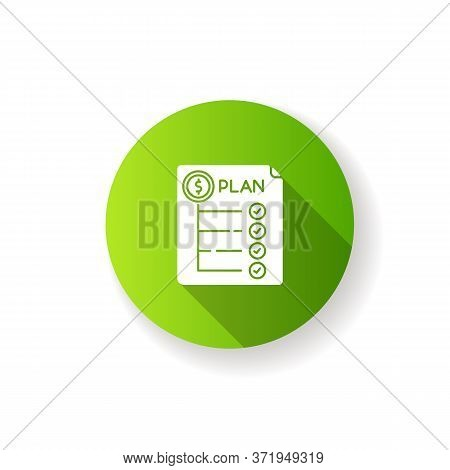 Expenditure Plan Green Flat Design Long Shadow Glyph Icon. Financial Annual Report. Banking To Count