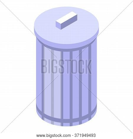 Steel Recycle Bin Icon. Isometric Of Steel Recycle Bin Vector Icon For Web Design Isolated On White