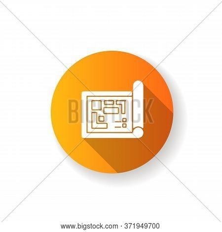 Blueprint Orange Flat Design Long Shadow Glyph Icon. Construction Project Structure. Technical Paper