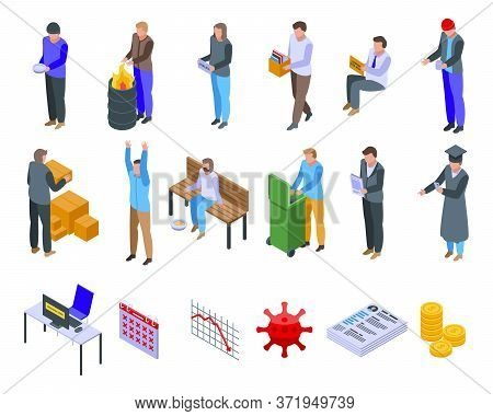 Jobless Icons Set. Isometric Set Of Jobless Vector Icons For Web Design Isolated On White Background
