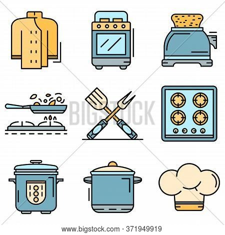 Cooker Icon Set. Outline Set Of Cooker Vector Icons Thin Line Color Flat Isolated On White
