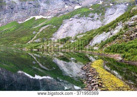 Fykanvatnet Lake In Glomfjord, Norway. Region Of Nordland.