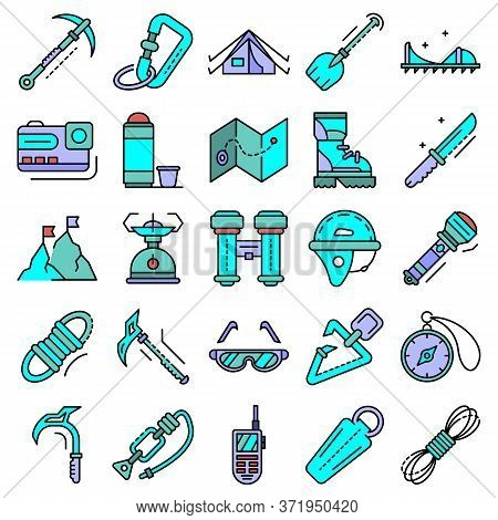 Mountaineering Equipment Icon Set. Outline Set Of Mountaineering Equipment Vector Icons Thin Line Co