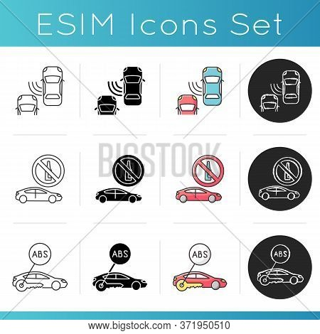 Traffic Safety Icons Set. Car Accident Prevention, Careful And Safe Driving Advice. Linear, Black An