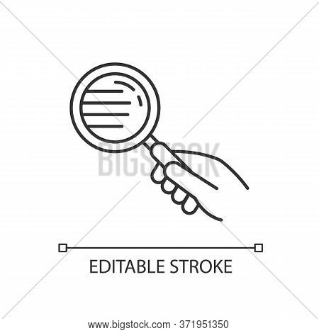 Magnify Glass Pixel Perfect Linear Icon. Hand With Lens. Close Inspection. Search For Information. T