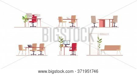 Recruitment Agency Furniture Semi Flat Rgb Color Vector Illustration Set. Computer Monitor On Deskto