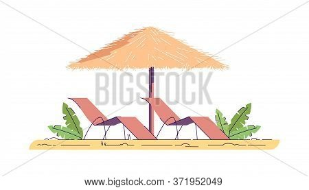 Chairs With Umbrella Semi Flat Rgb Color Vector Illustration. Summer Recreation In Tropical Resort.
