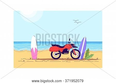 Motorbike And Surfboards Semi Flat Vector Illustration. Fun Activity In Tropical Resort. Resort Ente
