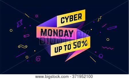 Cyber Monday. 3d Sale Banner With Text Cyber Monday For Emotion, Motivation. Modern 3d Colorful Temp