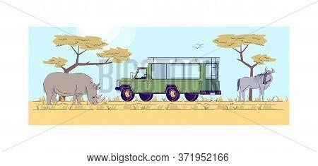 Safari Trip Semi Flat Vector Illustration. Truck To Journey In Savannah. Wild Life Observation From