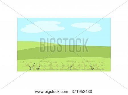 Greenery Semi Flat Vector Illustration. Hills With Grass. Rural Land. Middle Age Scenery. Ranch Past