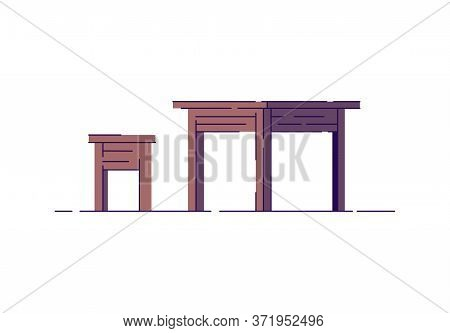 Wooden Dining Furniture Semi Flat Rgb Color Vector Illustration. Poor Rural Interior Items. Wood Rus