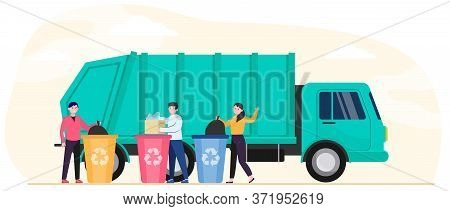 Cartoon People Throwing Out Rubbish And Trash Into Disposal Containers Flat Vector Illustration. Gar